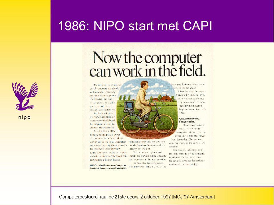 Computergestuurd naar de 21ste eeuw  2 oktober 1997  MOJ'97 Amsterdam  n i p on i p o Doelstelling IT industrie en overheid in Nederland  In het jaar 2000 moet 70% van huishoudens aansluitmogelijkheid hebben op electronische snelweg.