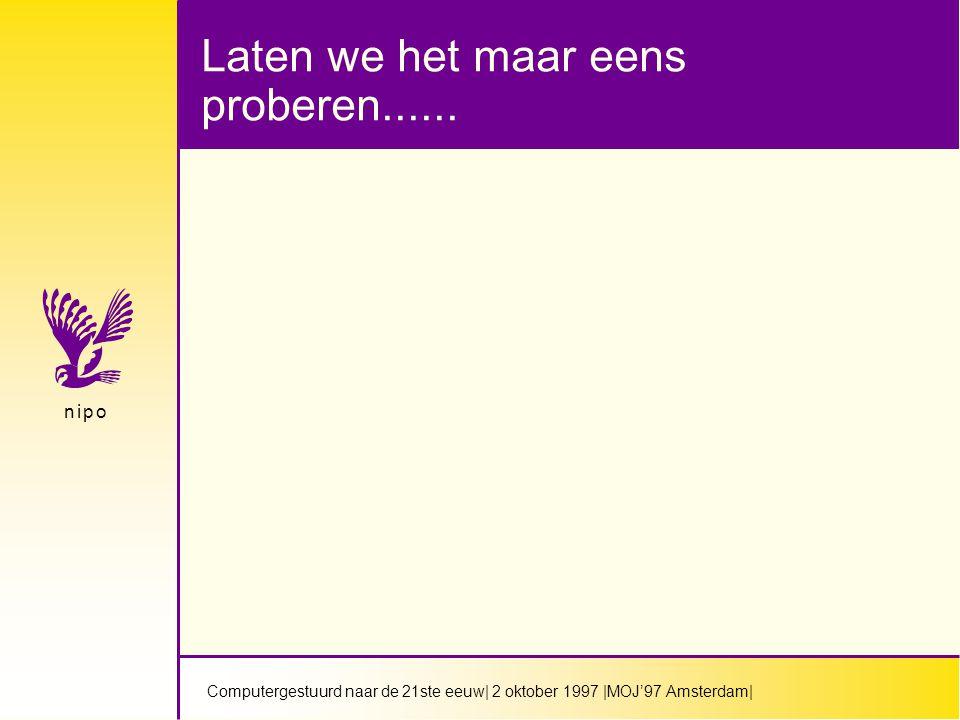 Computergestuurd naar de 21ste eeuw| 2 oktober 1997 |MOJ'97 Amsterdam| n i p on i p o Laten we het maar eens proberen......