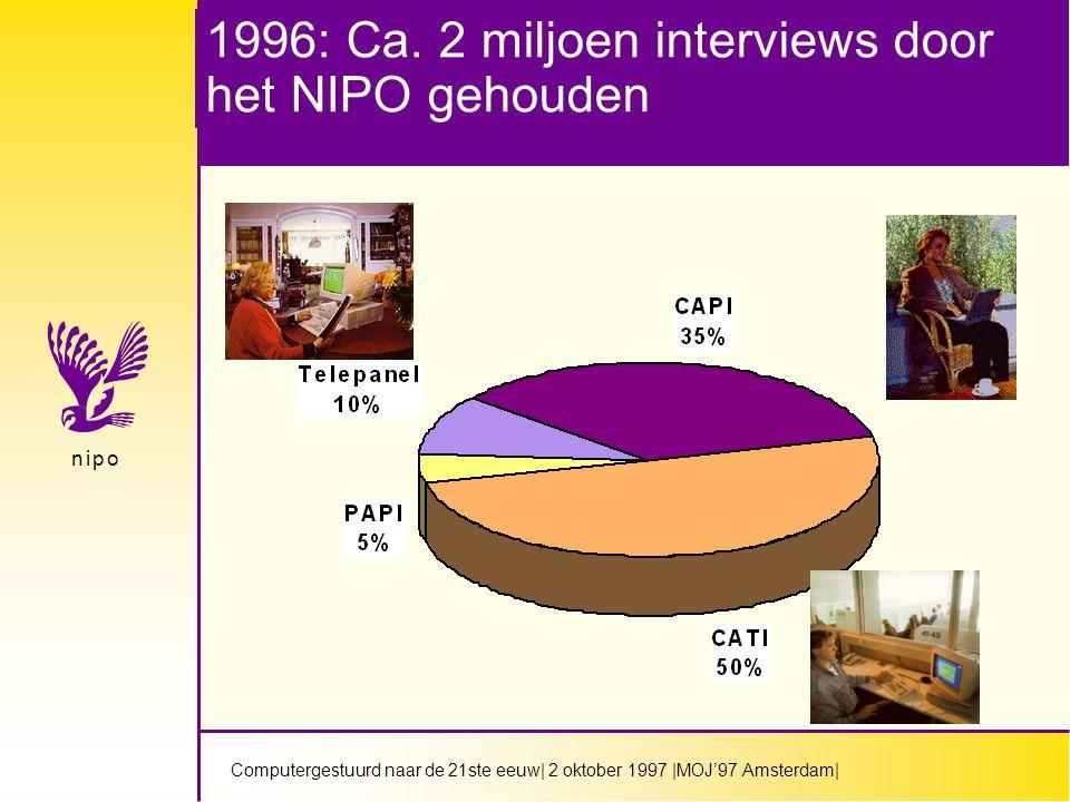 Computergestuurd naar de 21ste eeuw  2 oktober 1997  MOJ'97 Amsterdam  n i p on i p o Snelle opkomst van CATI/CAPI door meerdere factoren veroorzaakt  Software voor dataverzameling steeds uitgebreider  Hardware goedkoper en krachtiger  Telecommunicatie mogelijkheden sterk verbeterd  Voor multi-media gebruik:Windows  Vanwege concurrentie tussen bureau's
