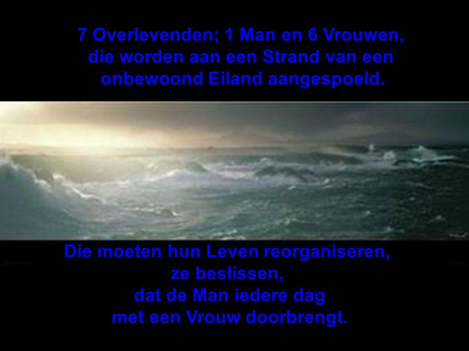7 Overlevenden; 1 Man en 6 Vrouwen, die worden aan een Strand van een onbewoond Eiland aangespoeld.