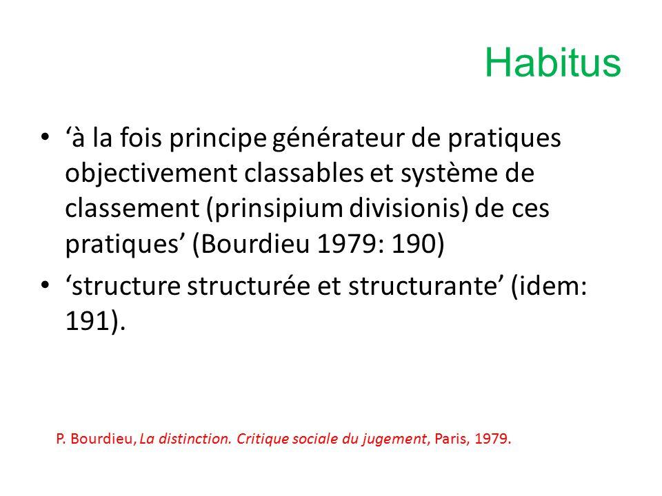 Habitus 'à la fois principe générateur de pratiques objectivement classables et système de classement (prinsipium divisionis) de ces pratiques' (Bourdieu 1979: 190) 'structure structurée et structurante' (idem: 191).