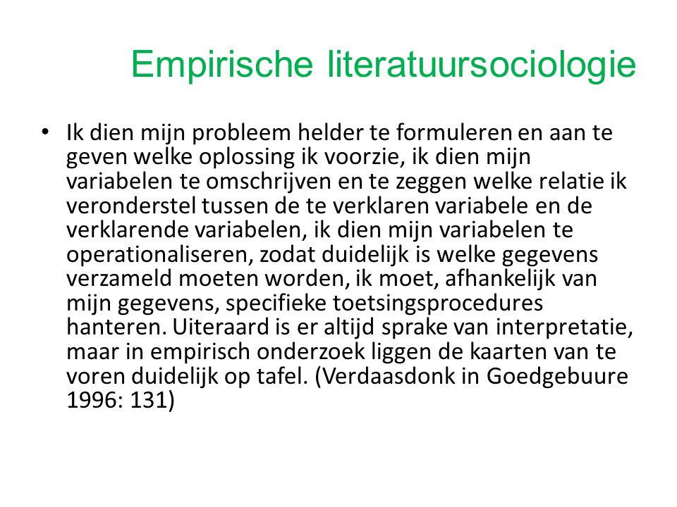 Empirische literatuursociologie Voorbeeld: fragmenten uit artikel Verdaasdonk – bespreking!