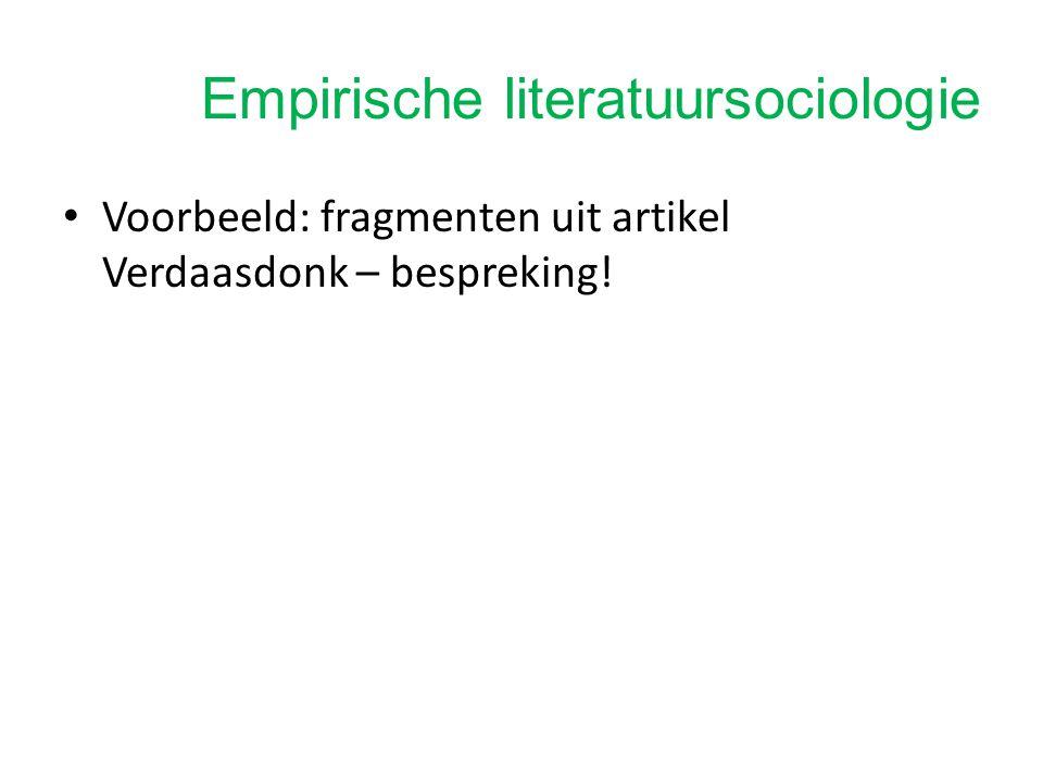 Tekstgericht onderzoek versus empirische literatuursociologie Ander onderzoeksobject Andere vragen Andere methode