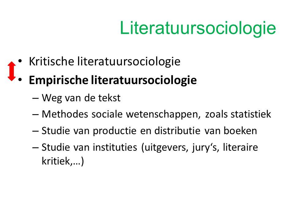 Literatuursociologie Ook nog andere soorten onderzoek onder de noemer literatuursociologie