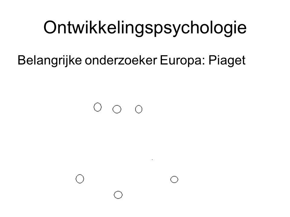 Ontwikkelingspsychologie Belangrijke onderzoeker Europa: Piaget