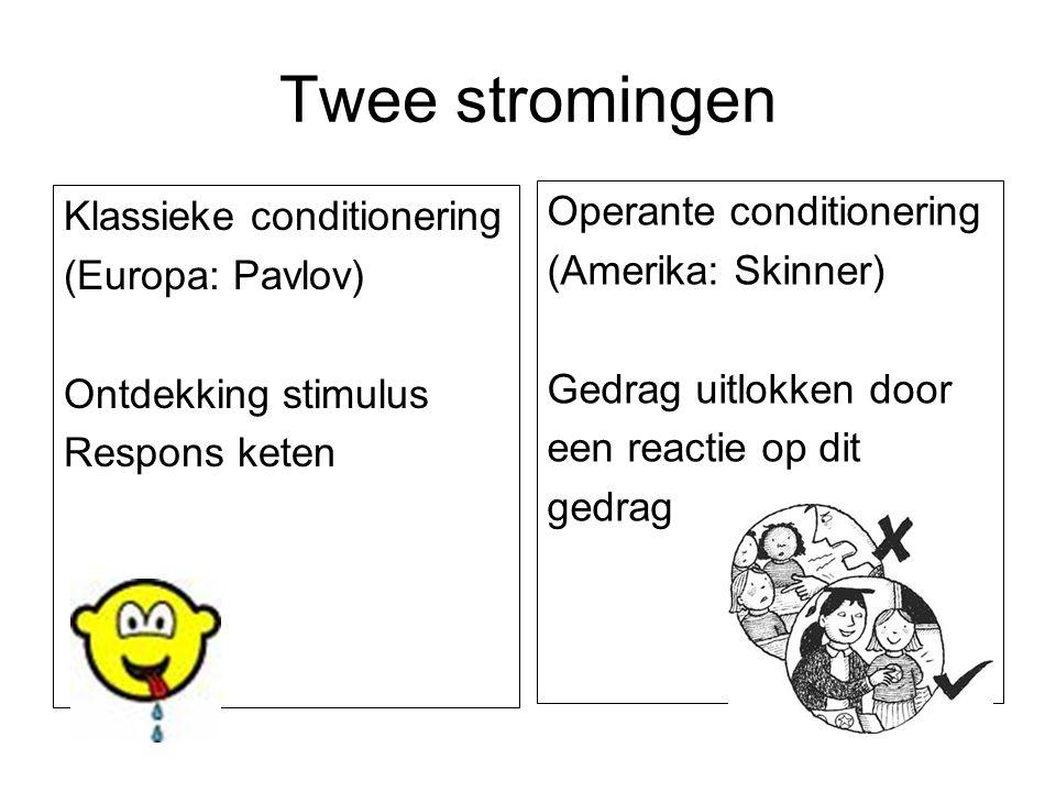 Twee stromingen Klassieke conditionering (Europa: Pavlov) Ontdekking stimulus Respons keten Operante conditionering (Amerika: Skinner) Gedrag uitlokke