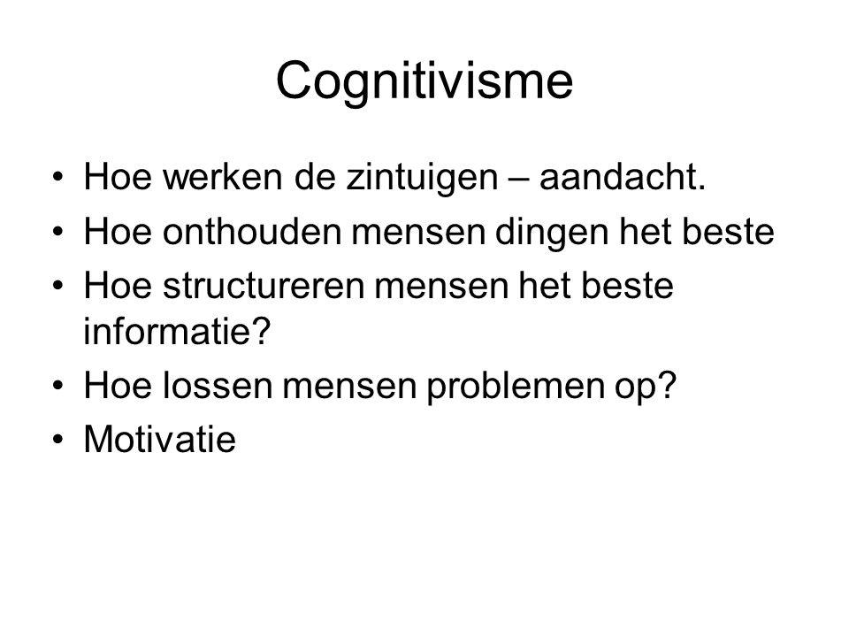 Cognitivisme Hoe werken de zintuigen – aandacht. Hoe onthouden mensen dingen het beste Hoe structureren mensen het beste informatie? Hoe lossen mensen