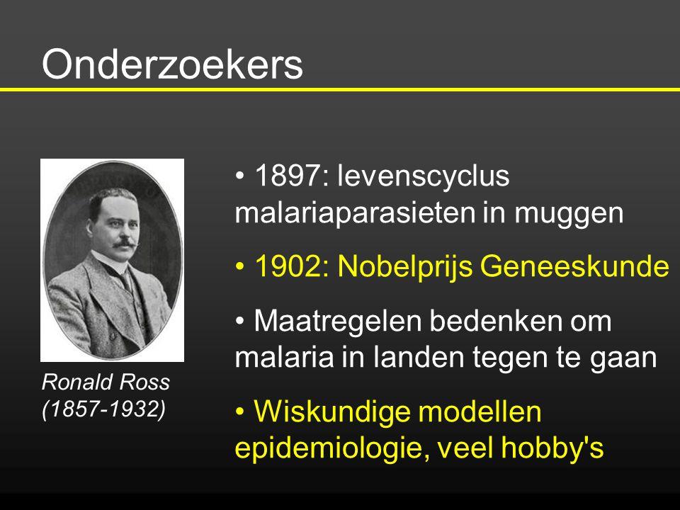 Onderzoekers Ronald Ross (1857-1932) 1897: levenscyclus malariaparasieten in muggen 1902: Nobelprijs Geneeskunde Maatregelen bedenken om malaria in la