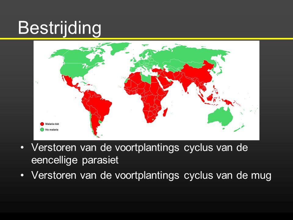 Bestrijding Verstoren van de voortplantings cyclus van de eencellige parasiet Verstoren van de voortplantings cyclus van de mug