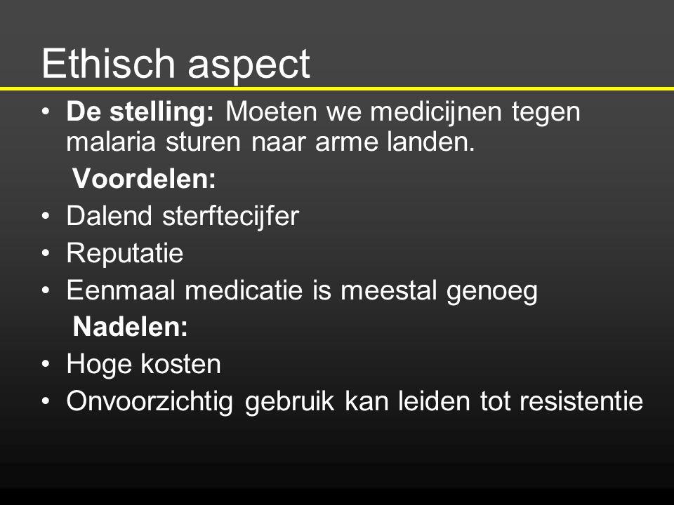 Ethisch aspect De stelling: Moeten we medicijnen tegen malaria sturen naar arme landen. Voordelen: Dalend sterftecijfer Reputatie Eenmaal medicatie is