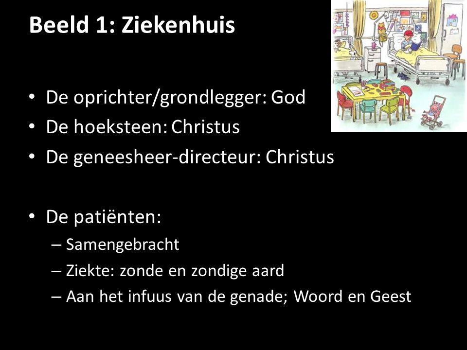 Beeld 1: Ziekenhuis De oprichter/grondlegger: God De hoeksteen: Christus De geneesheer-directeur: Christus De patiënten: – Samengebracht – Ziekte: zon