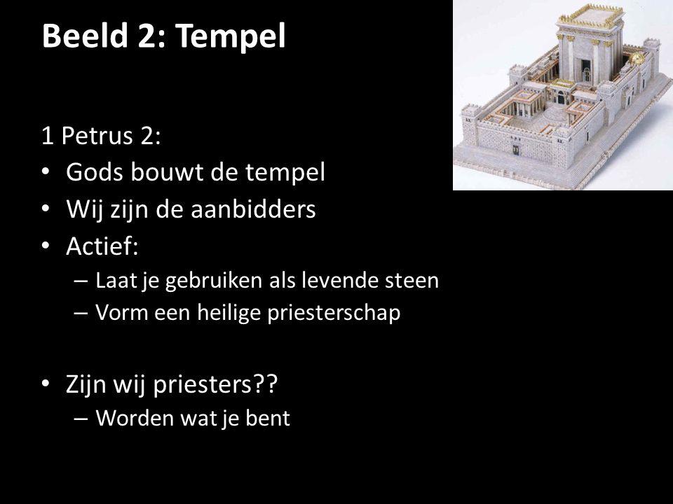 Beeld 2: Tempel 1 Petrus 2: Gods bouwt de tempel Wij zijn de aanbidders Actief: – Laat je gebruiken als levende steen – Vorm een heilige priesterschap