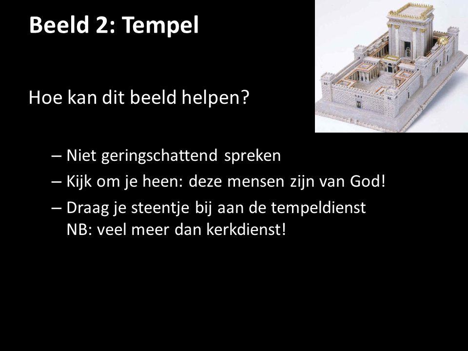 Beeld 2: Tempel Hoe kan dit beeld helpen? – Niet geringschattend spreken – Kijk om je heen: deze mensen zijn van God! – Draag je steentje bij aan de t
