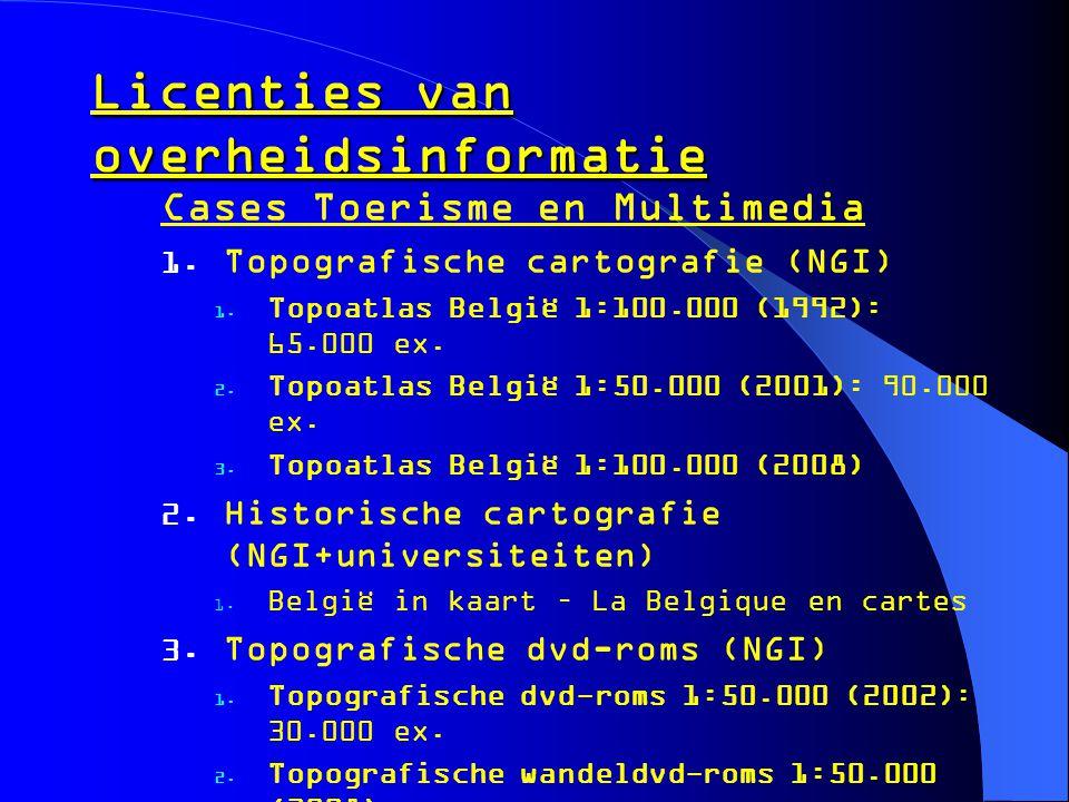 Licenties van overheidsinformatie Cases Toerisme en Multimedia  Topografische cartografie (NGI)  Topoatlas België 1:100.000 (1992): 65.000 ex.