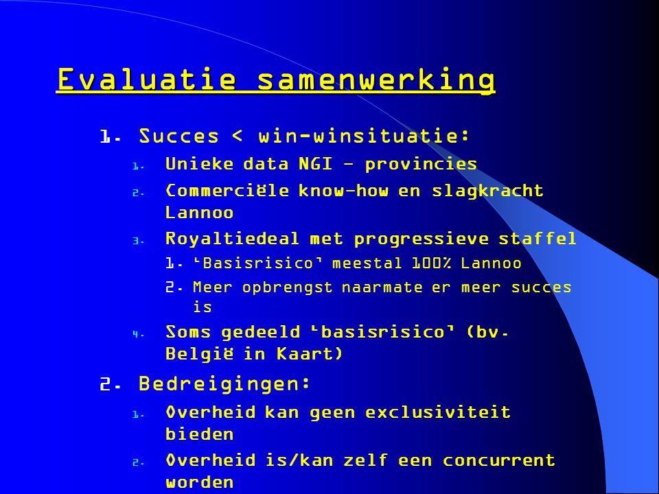 Evaluatie samenwerking  Succes < win-winsituatie:  Unieke data NGI - provincies  Commerciële know-how en slagkracht Lannoo  Royaltiedeal met p