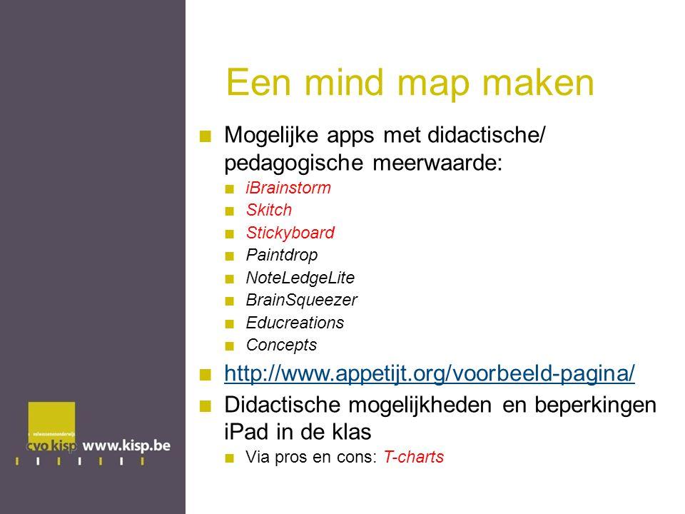 Een mind map maken Mogelijke apps met didactische/ pedagogische meerwaarde: iBrainstorm Skitch Stickyboard Paintdrop NoteLedgeLite BrainSqueezer Educreations Concepts http://www.appetijt.org/voorbeeld-pagina/ Didactische mogelijkheden en beperkingen iPad in de klas Via pros en cons: T-charts