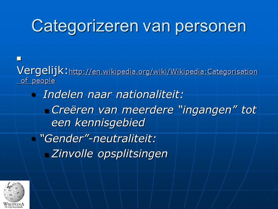 Categorizeren van personen Vergelijk: http://en.wikipedia.org/wiki/Wikipedia:Categorisation _of_people Vergelijk: http://en.wikipedia.org/wiki/Wikipedia:Categorisation _of_people http://en.wikipedia.org/wiki/Wikipedia:Categorisation _of_people http://en.wikipedia.org/wiki/Wikipedia:Categorisation _of_people Indelen naar nationaliteit: Indelen naar nationaliteit: Creëren van meerdere ingangen tot een kennisgebied Creëren van meerdere ingangen tot een kennisgebied Gender -neutraliteit: Gender -neutraliteit: Zinvolle opsplitsingen Zinvolle opsplitsingen