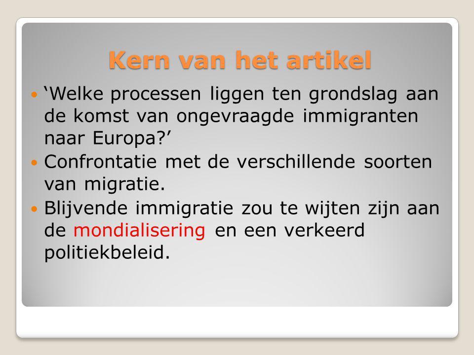 Kern van het artikel 'Welke processen liggen ten grondslag aan de komst van ongevraagde immigranten naar Europa?' Confrontatie met de verschillende soorten van migratie.
