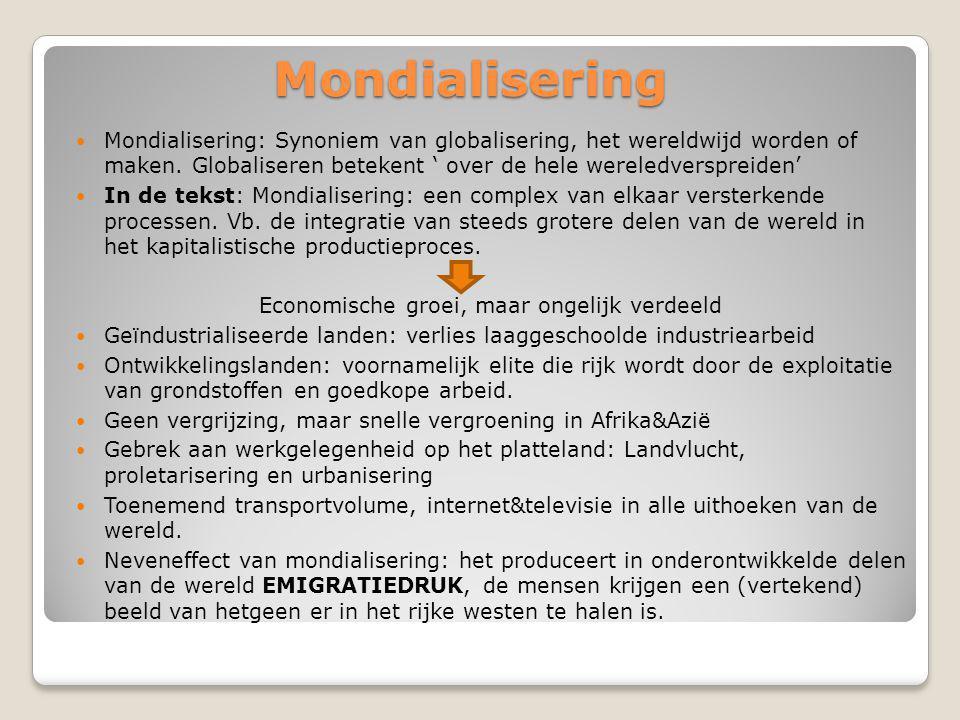 Mondialisering Mondialisering: Synoniem van globalisering, het wereldwijd worden of maken.