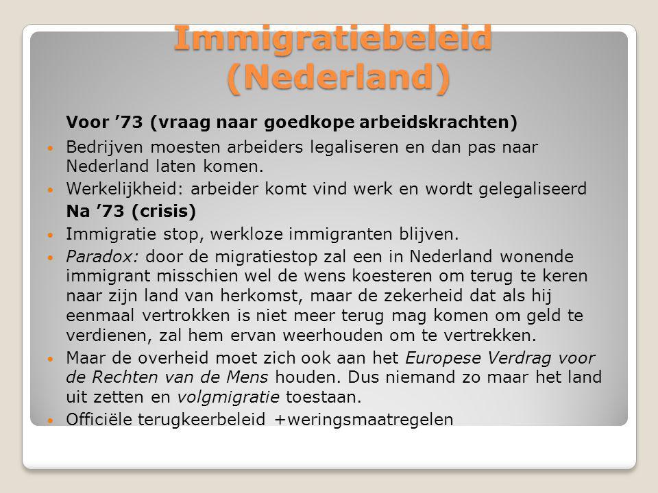 Immigratiebeleid (Nederland) Voor '73 (vraag naar goedkope arbeidskrachten) Bedrijven moesten arbeiders legaliseren en dan pas naar Nederland laten komen.