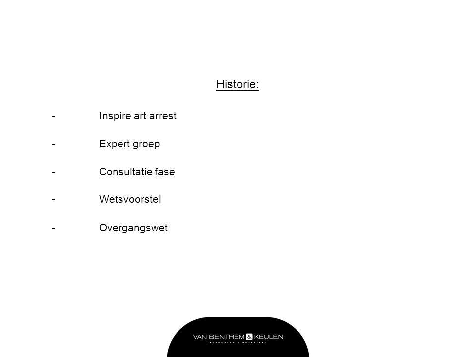 Historie: -Inspire art arrest -Expert groep -Consultatie fase -Wetsvoorstel -Overgangswet