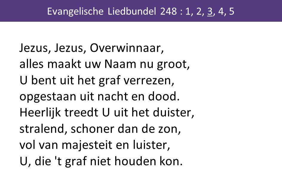Jezus, Jezus, Overwinnaar, alles maakt uw Naam nu groot, U bent uit het graf verrezen, opgestaan uit nacht en dood. Heerlijk treedt U uit het duister,