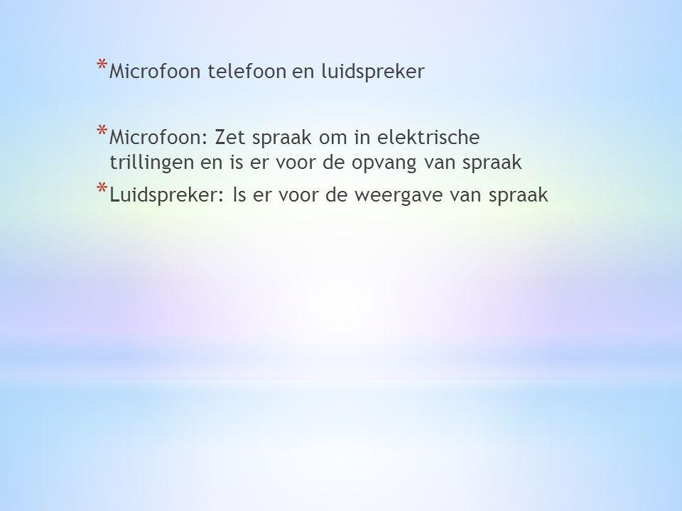 * Microfoon telefoon en luidspreker * Microfoon: Zet spraak om in elektrische trillingen en is er voor de opvang van spraak * Luidspreker: Is er voor de weergave van spraak