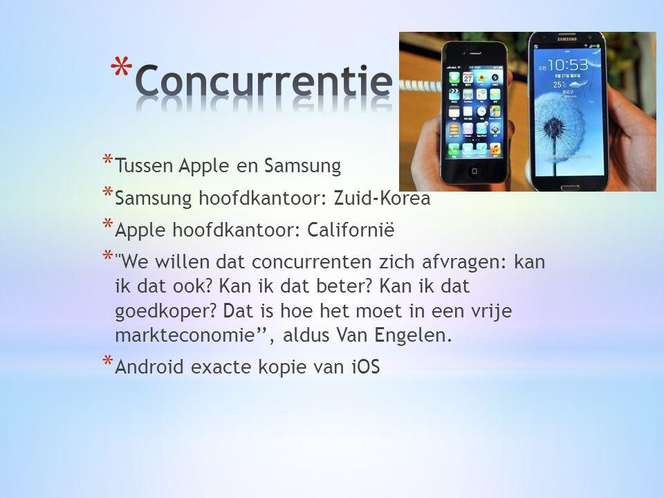 * Tussen Apple en Samsung * Samsung hoofdkantoor: Zuid-Korea * Apple hoofdkantoor: Californië * We willen dat concurrenten zich afvragen: kan ik dat ook.