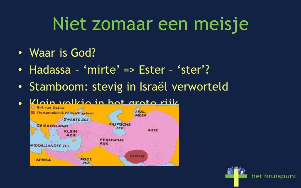 Niet zomaar een meisje Waar is God. Hadassa – 'mirte' => Ester – 'ster'.