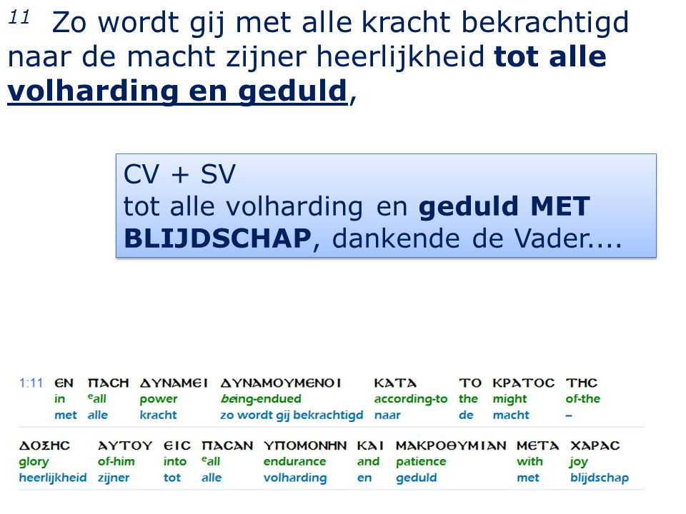 7 CV + SV tot alle volharding en geduld MET BLIJDSCHAP, dankende de Vader....