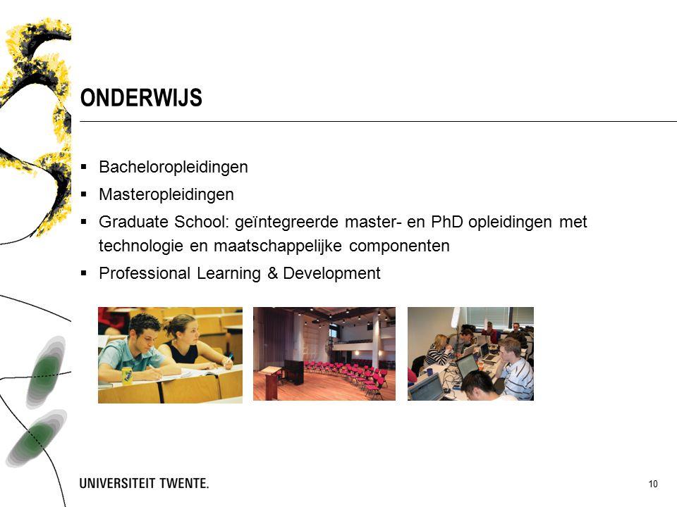 10 ONDERWIJS  Bacheloropleidingen  Masteropleidingen  Graduate School: geïntegreerde master- en PhD opleidingen met technologie en maatschappelijke componenten  Professional Learning & Development