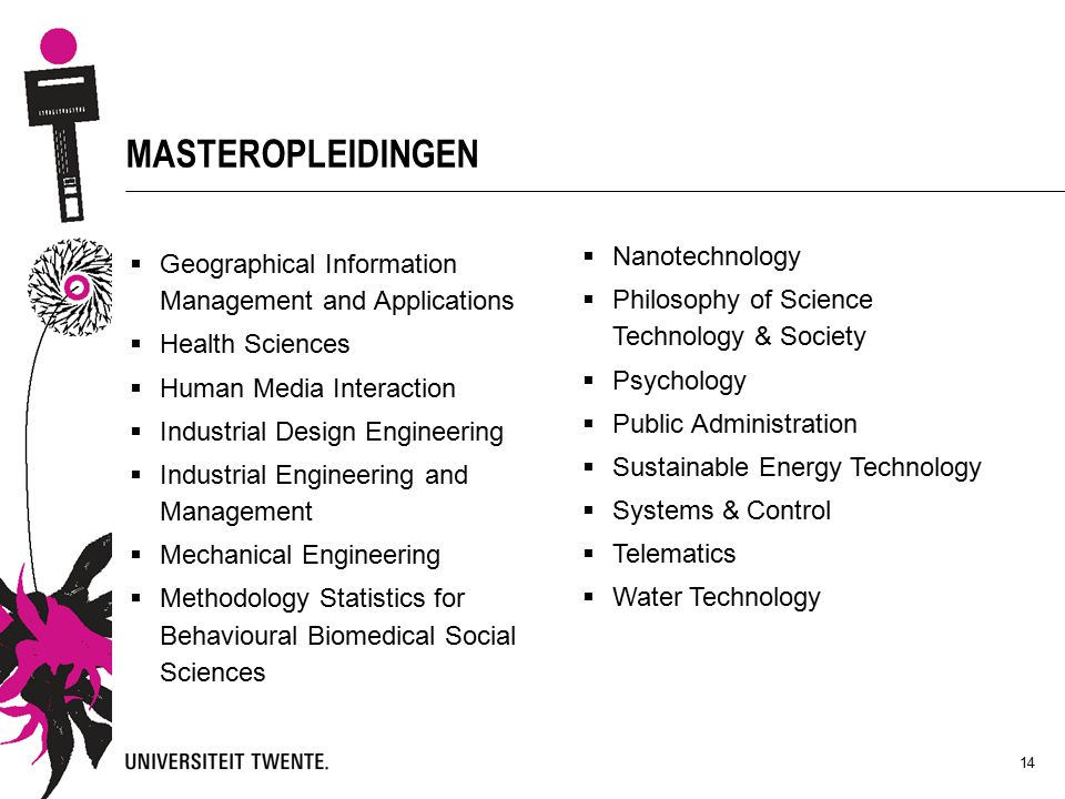 14 MASTEROPLEIDINGEN  Geographical Information Management and Applications  Health Sciences  Human Media Interaction  Industrial Design Engineering  Industrial Engineering and Management  Mechanical Engineering  Methodology Statistics for Behavioural Biomedical Social Sciences  Nanotechnology  Philosophy of Science Technology & Society  Psychology  Public Administration  Sustainable Energy Technology  Systems & Control  Telematics  Water Technology