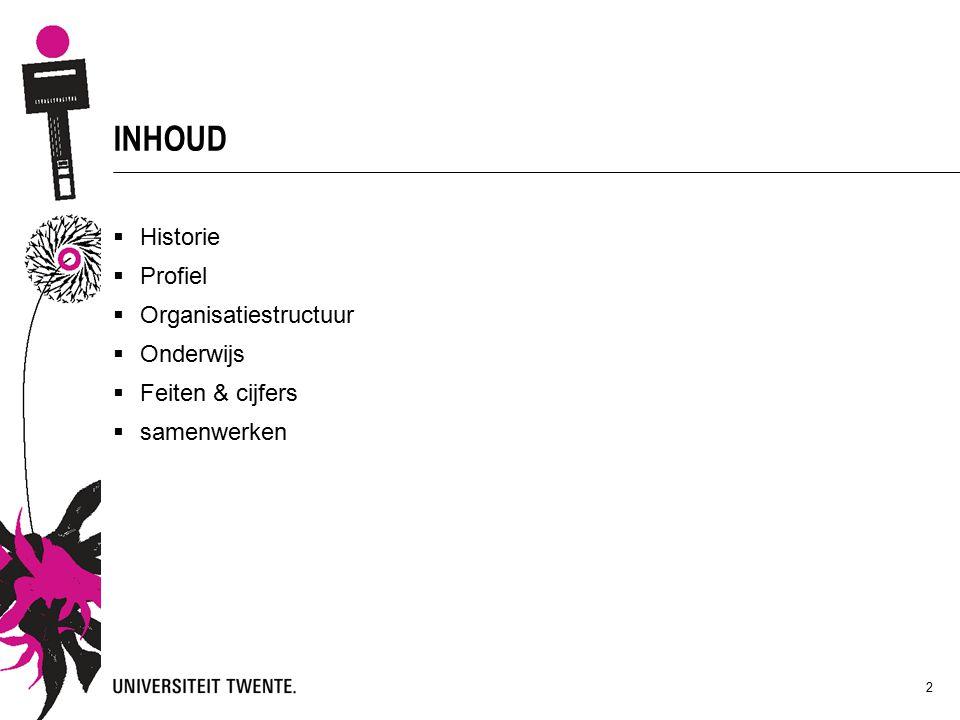 INHOUD  Historie  Profiel  Organisatiestructuur  Onderwijs  Feiten & cijfers  samenwerken 2