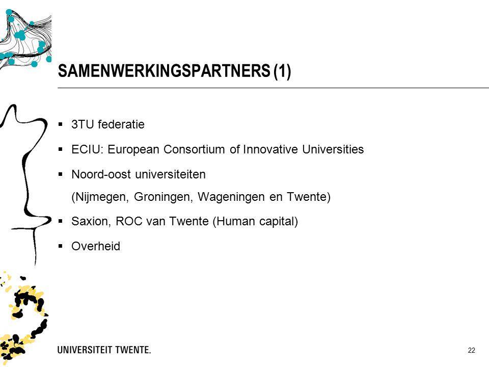 22 SAMENWERKINGSPARTNERS (1)  3TU federatie  ECIU: European Consortium of Innovative Universities  Noord-oost universiteiten (Nijmegen, Groningen, Wageningen en Twente)  Saxion, ROC van Twente (Human capital)  Overheid