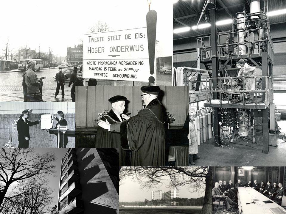 4 MEER DAN 50 JAAR UNIVERSITEIT TWENTE 1961: hoe we zijn begonnen  Industrialisatie:  Behoefte aan technische mensen  Behoefte aan een derde technische universiteit  Drienerlose landgoed was beschikbaar  Eerste (en enige) Nederlandse campus universiteit (146 hectare)