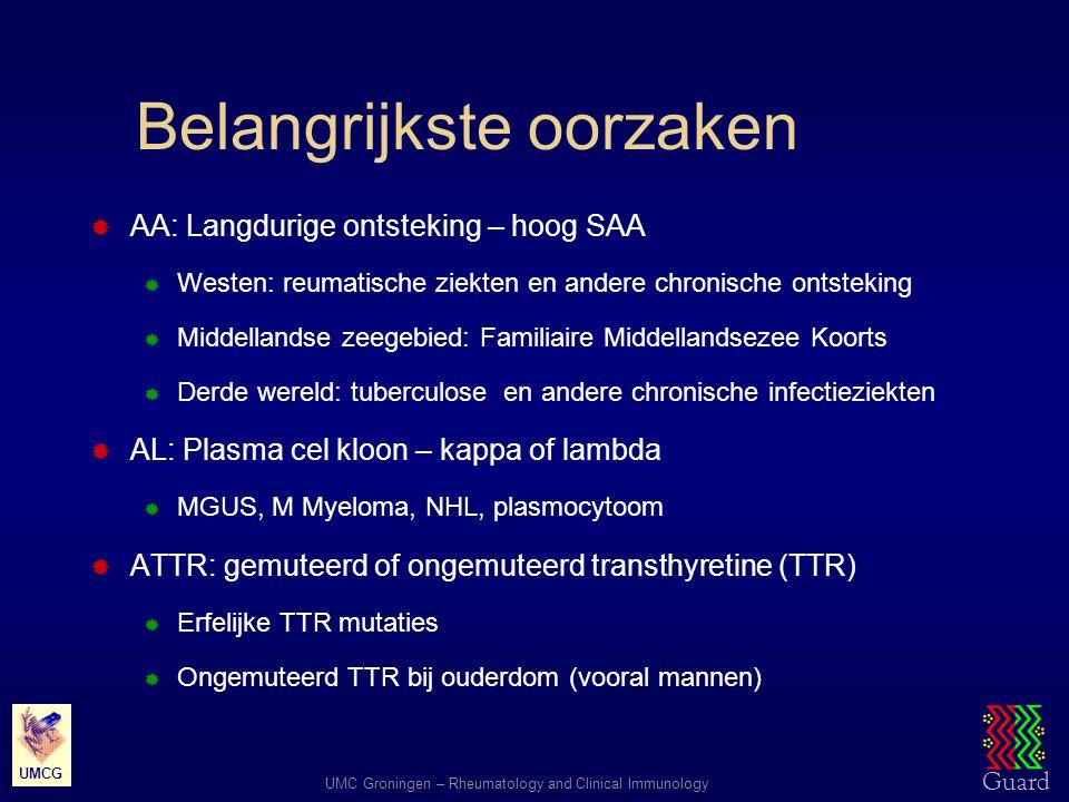 Guard UMC Groningen – Rheumatology and Clinical Immunology UMCG Belangrijkste oorzaken  AA: Langdurige ontsteking – hoog SAA  Westen: reumatische zi