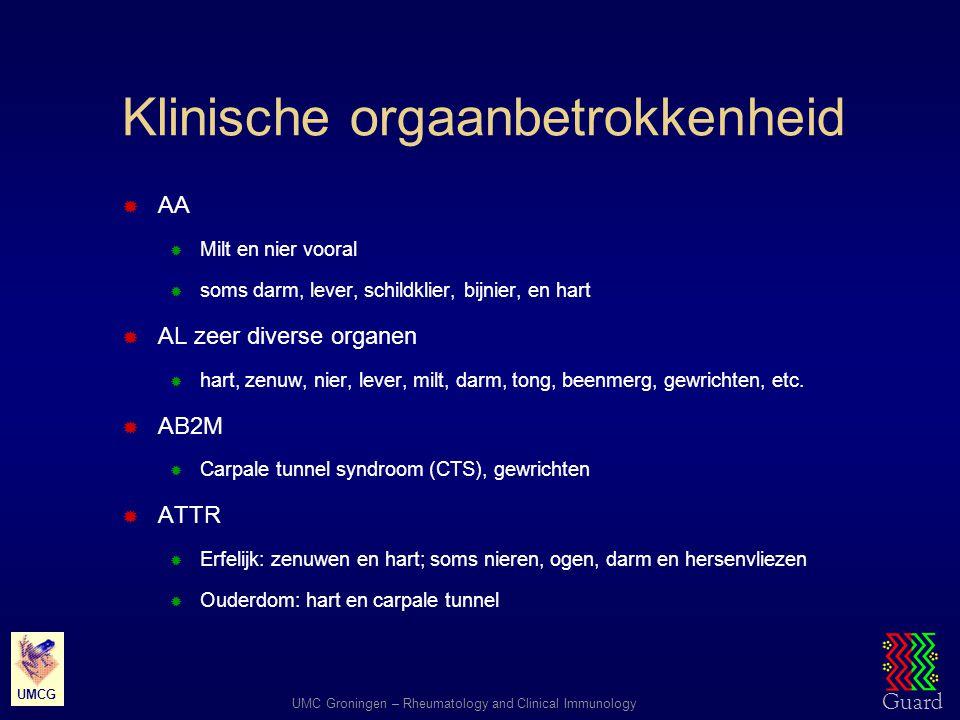 Guard UMC Groningen – Rheumatology and Clinical Immunology UMCG Klinische orgaanbetrokkenheid  AA  Milt en nier vooral  soms darm, lever, schildkli