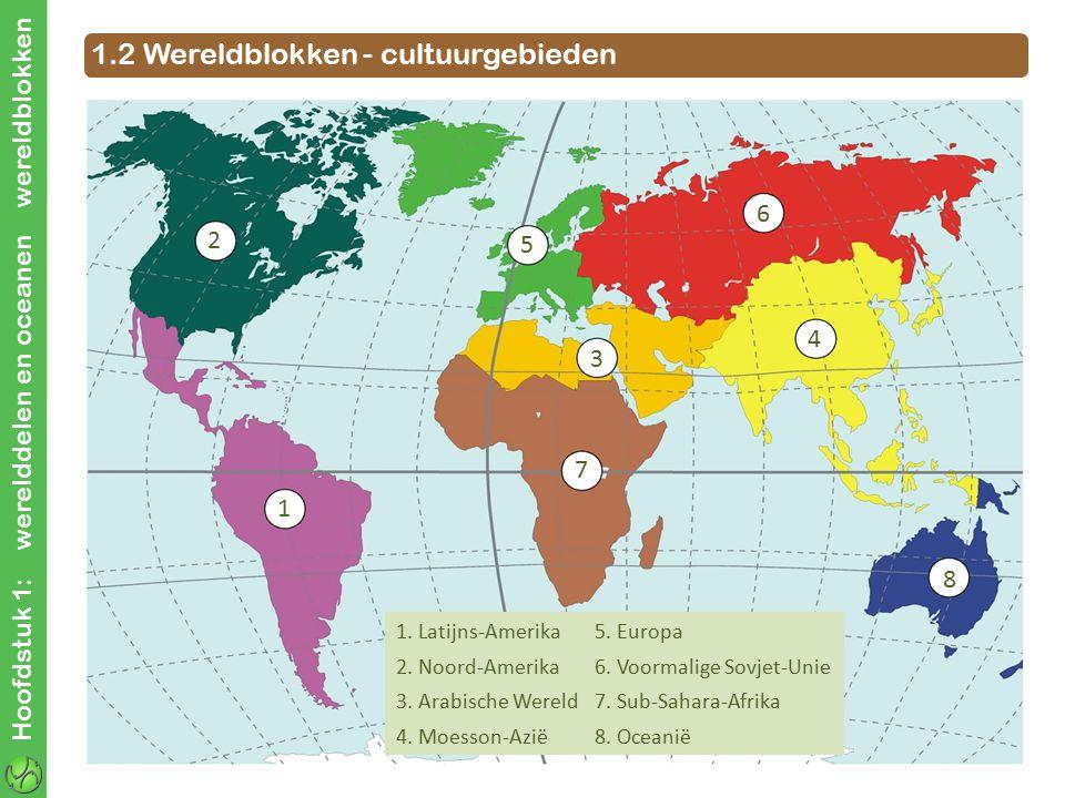 Hoofdstuk 1: werelddelen en oceanen wereldblokken 1.2 Wereldblokken - cultuurgebieden 1. Latijns-Amerika 2. Noord-Amerika 3. Arabische Wereld 4. Moess
