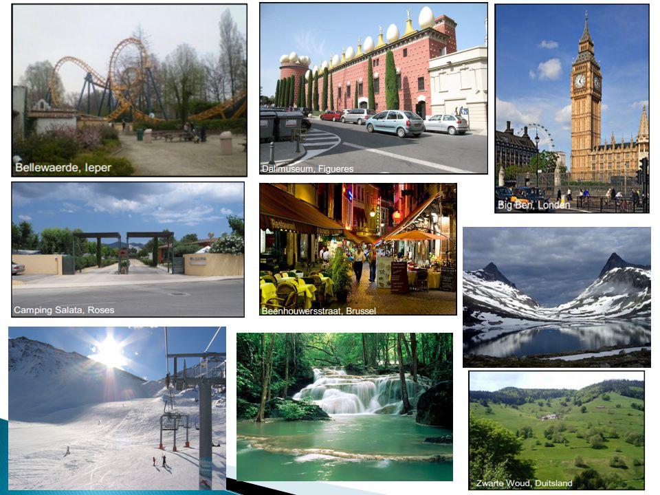 Een Toeristisch landschap wordt gekenmerkt door volgende landschapselementen: historische gebouwen, mooie natuur, kunst, wandelpaden, fietspaden, musea, kust, zee, hotels, skigebied, pretpark, bergen, …