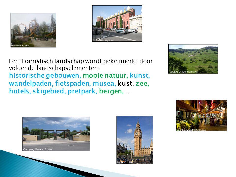 Een Toeristisch landschap wordt gekenmerkt door volgende landschapselementen: historische gebouwen, mooie natuur, kunst, wandelpaden, fietspaden, muse
