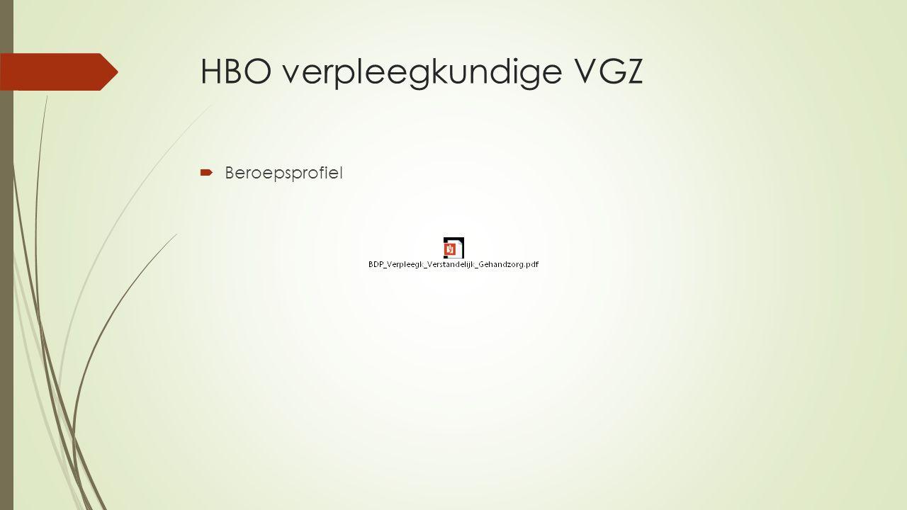 HBO verpleegkundige VGZ  Beroepsprofiel
