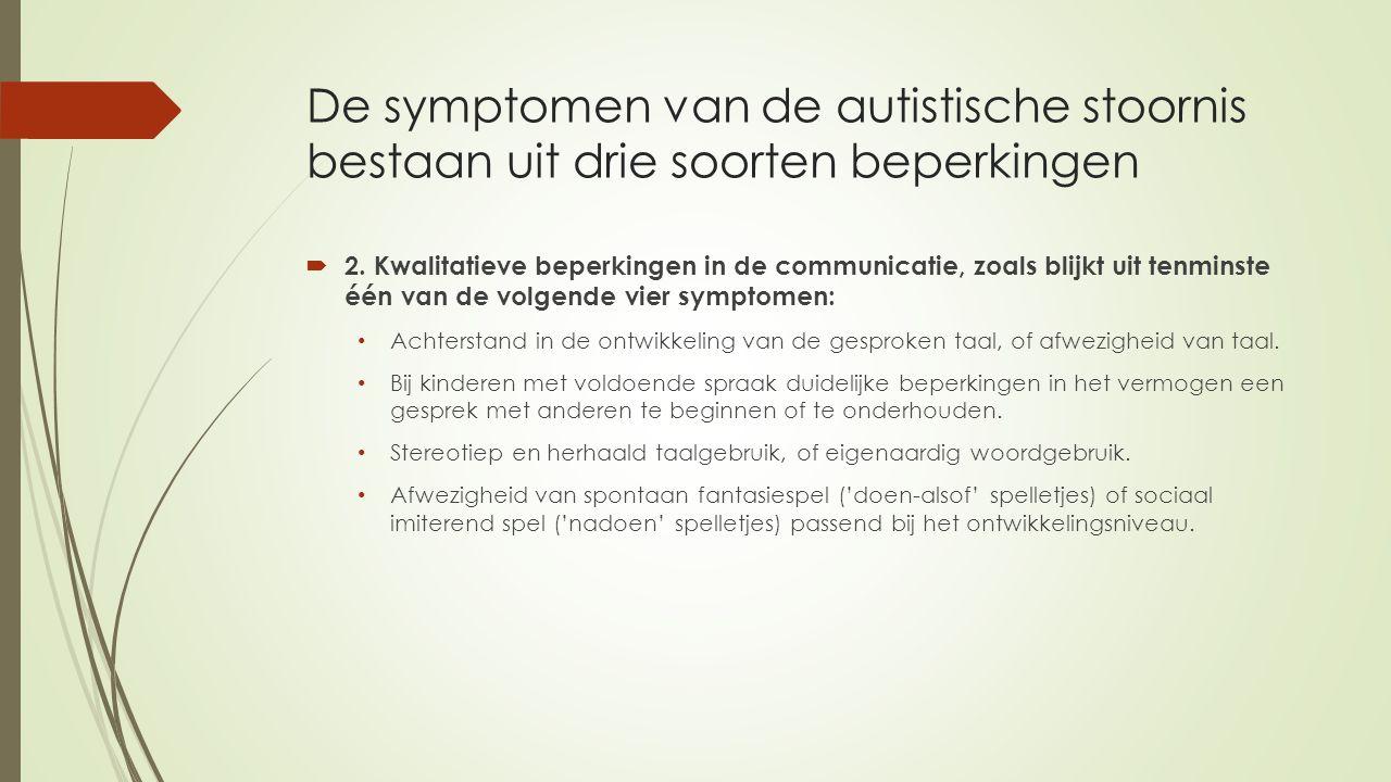 De symptomen van de autistische stoornis bestaan uit drie soorten beperkingen  2. Kwalitatieve beperkingen in de communicatie, zoals blijkt uit tenmi