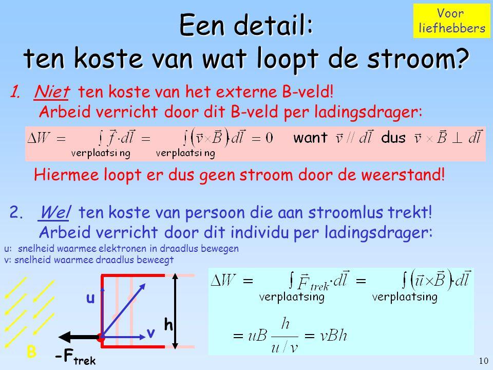9 Inductie s h B0B0 |v|=ds/dt R (lampje) B=0 Empirisch d.w.z. gevolg experiment! beweeg stroomlus heen en weer  gaat stroom lopen door weerstand R