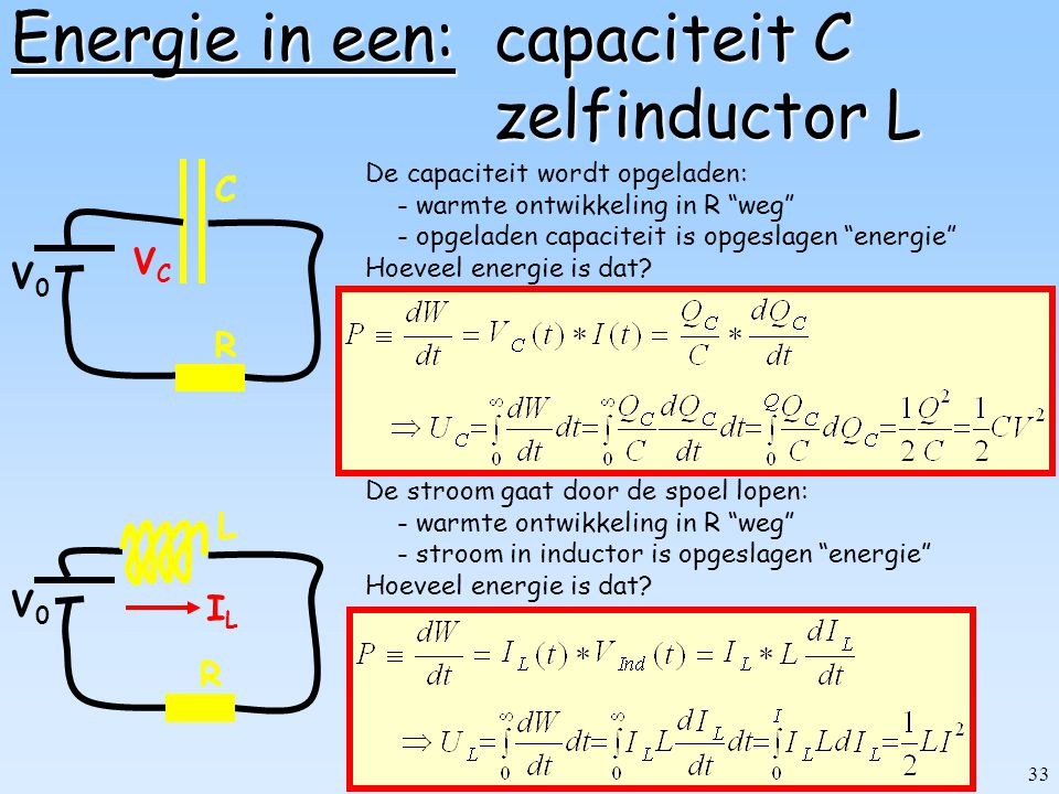 32 Dissipatie in weerstand R R V0V0 I De EMK (V 0 ) pompt iedere seconde I Coulombs rond.