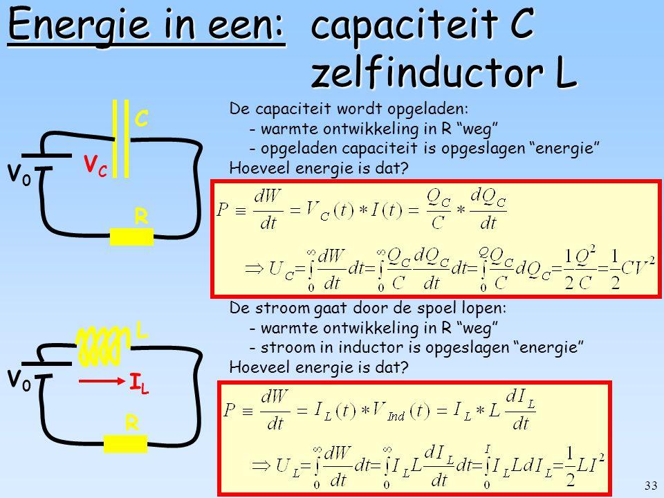 32 Dissipatie in weerstand R R V0V0 I De EMK (V 0 ) pompt iedere seconde I Coulombs rond. Dat kost werk=energie (batterij raakt leeg!) Die energie wor