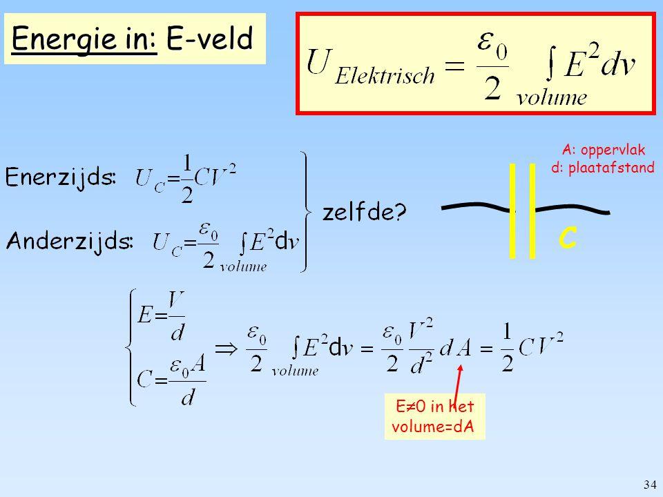 33 Energie in een: capaciteit C zelfinductor L De capaciteit wordt opgeladen: - warmte ontwikkeling in R weg - opgeladen capaciteit is opgeslagen energie Hoeveel energie is dat.