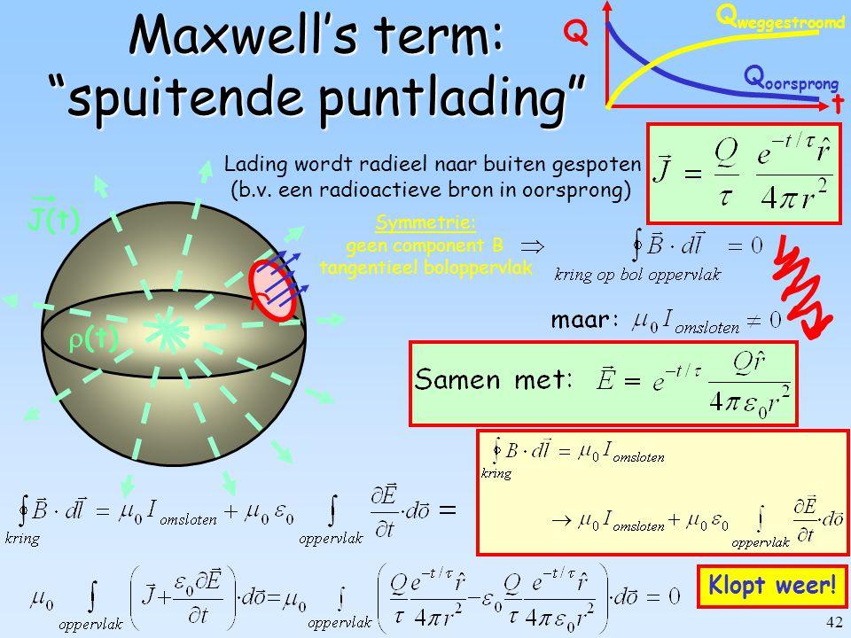 41 V0V0 C: Oppervlak: A Separatie: d Maxwell's term: opladende condensator Terwijl condensator oplaadt: (A) Rechterlid.