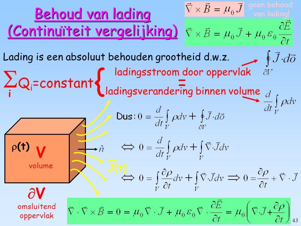 42 J(t)  (t) Maxwell's term: spuitende puntlading Lading wordt radieel naar buiten gespoten (b.v.