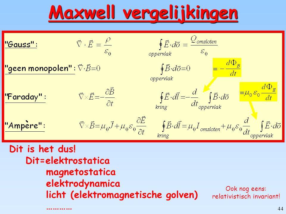 43 Behoud van lading (Continuïteit vergelijking) V volume  V omsluitend oppervlak geen behoud van lading! ladingsstroom door oppervlak ladingsverande