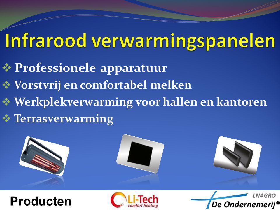  Professionele apparatuur  Vorstvrij en comfortabel melken  Werkplekverwarming voor hallen en kantoren  Terrasverwarming Producten